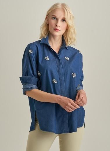 Ng Style Taş İşlemeli Oversize Jean Gömlek Mavi